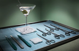 Martini with Surgical Equipment on Tray