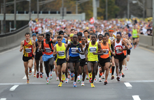 Leading runners compete in the Ne York C
