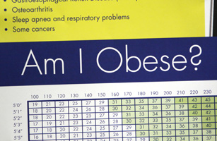 A sign hanging in bariatric surgeon Dr. Michael Snyder's office shows some of the risks of obesity including stroke, sleep apnea and cancer Denver