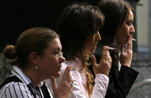 Women smoke in central Sydney