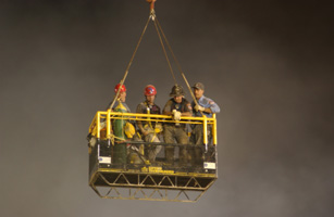 FIREFIGHTERS RETURN TO SURFACE AFTER GOING UNDER GROUND AT WTC.