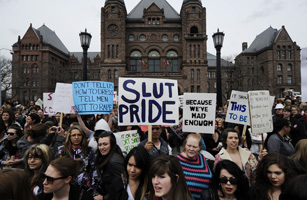 "People take part in the ""Slutwalk"" protest in Toronto"