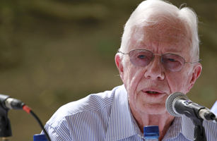 Former US president Jimmy Carter speaks