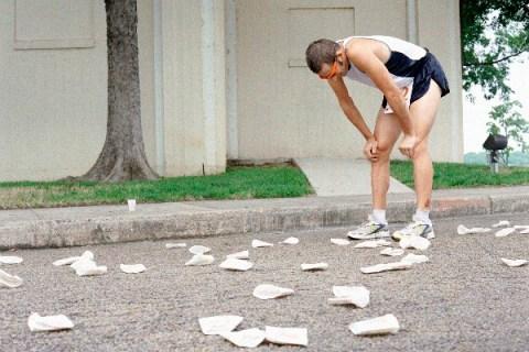 Marathon runner resting