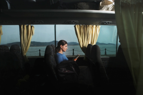 Woman Alone on Bus