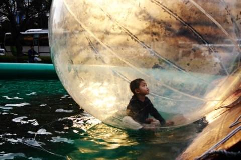 Boy in play bubble
