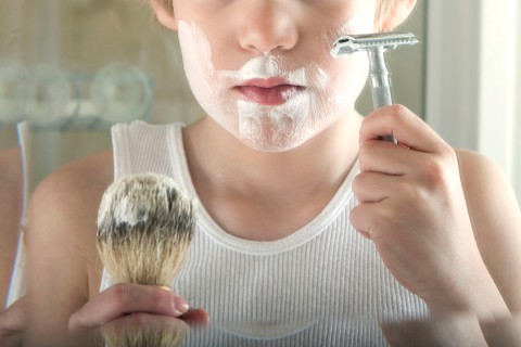 Little boy shaving