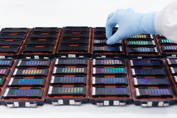 image: 23andMe's custom genotyping array chips are mounted for processing. Each chip probes individual samples for approximately one million genetic variants (or single-nucleotide polymorphisms - SNPs).