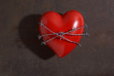 Heart wrapped in barbed wire