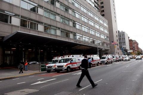 image: Ambulances gather outside of NYU Langone Medical Center in preparation for evacuations on the eastside of Manhattan, Oct. 28, 2012.