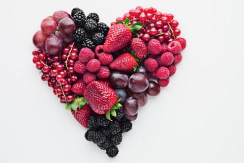 Fruit arranged in shape of heart