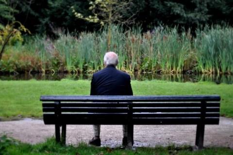 Elderly man alone on park bench