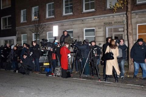 Media gathered outside King Edward VII Hospital where Catherine, Duchess of Cambridge is being treated hyperemesis gravidarum