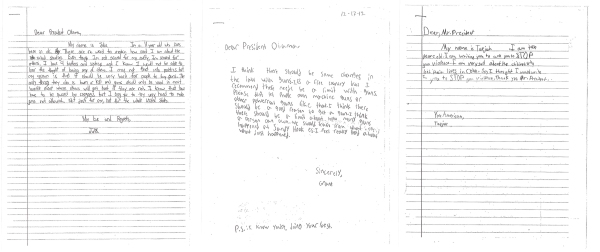 image: Kids' letters to the President Obama to change gun laws
