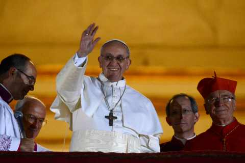 Newly elected Pope Francis, Cardinal Jorge Mario Bergoglio of Argentina appears on the balcony of St. Peter's Basilica at the Vatican