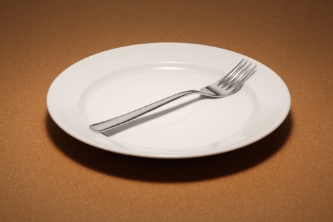 Small empty plate with fork