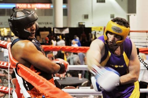 From Right: Tamerlan Tsamaev fights Lamar Fenner during the 2009 Golden Gloves National Tournament of Champions  in Salt Lake City, on May 4, 2009.