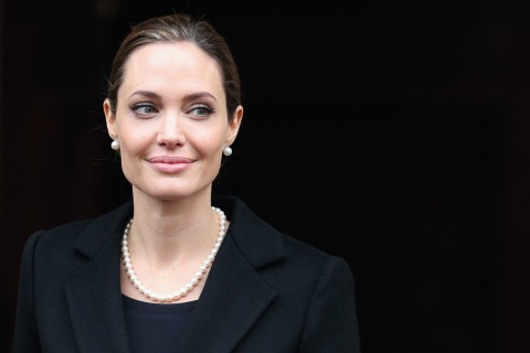 Angelina Jolie leaves Lancaster House after attending the G8 Foreign Minsters' conference in London, on April 11, 2013.