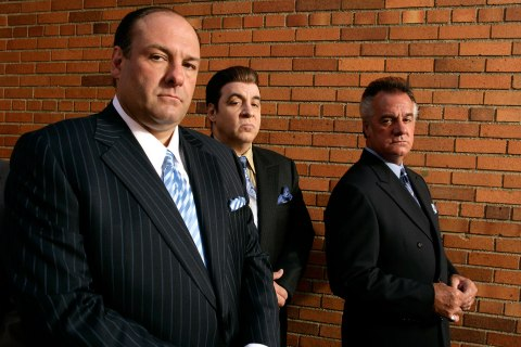 "From left: James Gandolfini, Steven Van Zandt and Tony Sirico, members of the cast of the HBO cable television mob drama ""The Sopranos."""