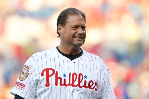 Former Philadelphia Phillies catcher Darren Daulton takes part in the Alumni Night celebration before a game between the Philadelphia Phillies and the New York Mets at Citizens Bank Park in Philadelphia, on August 7, 2010.