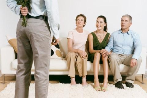 Man meeting fiancee's family