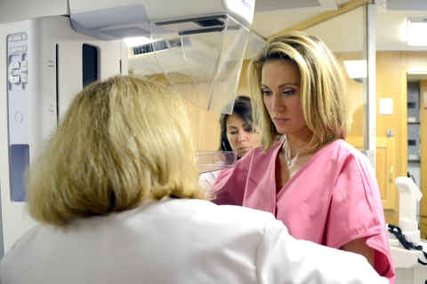 Good Morning America's Amy Robach gets a mammogram during a live broadcast on Oct. 1, 2013.