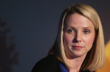 Yahoo CEO Marissa Mayer at a news conference in Times Square on May 20, 2013 in New York City.