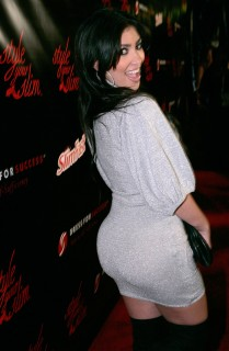 "Television personality Kim Kardashian attends the Slimfast ""Style Your Slim"" fashion show at Boulevard 3 on January 9, 2008 in Hollywood."